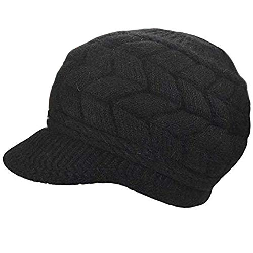 SYAYA Women Winter Warm Knit Hat Wool Snow Ski Caps with Visor DMZ01 (Black)