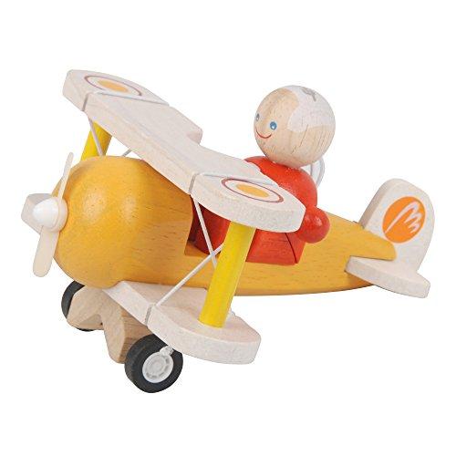 PlanToys - PT6030 - Jouet en bois - Véhicule - Avion Classique avec Pilote
