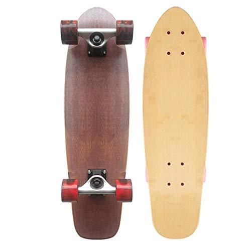 27-Zoll-Bambus Longboard, Junge, Mädchen, Straße Cruiser Board Skateboard QIANGQIANG (Color : Blue)