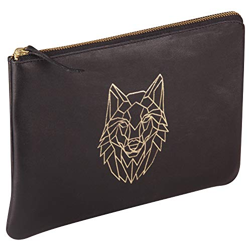 Clairefontaine 410187C – Una funda universal (estuche) 27 x 19 cm de piel bosque negro, lobo