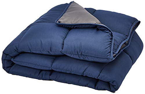 Linenspa All-Season Reversible Down Alternative Quilted Comforter - Hypoallergenic - Plush Microfiber Fill - Machine Washable - Duvet Insert or Stand-Alone Comforter - Navy/Graphite - Twin