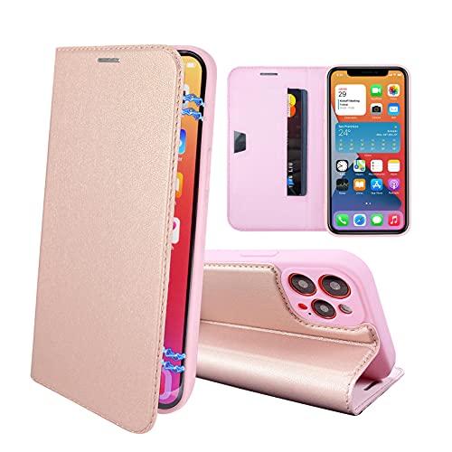 RedyRun Funda Poliuretano Hybrid Compatible con iPhone 12 Pro MAX 6.7 Pulgadas (Fundas Plegable Cartera Cuero PU) (Funda de Bumper Silicona TPU) (Flip Folio Case) - Oro Rosa