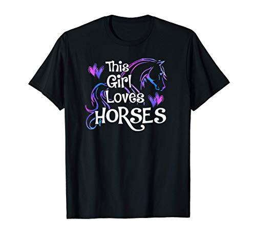 THIS GIRL LOVES HORSES Equestrian Owner Women Mom Teen Kids T-Shirt
