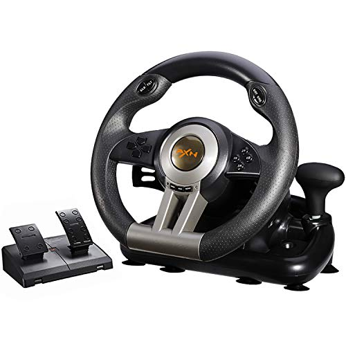 PXN V3II Simulate Racing Game Steering Wheel with Pedal, 180 Degree Steering Wheel, Compatible with Windows PC, PS3, PS4, Xbox One, Nintendo Switch - Black