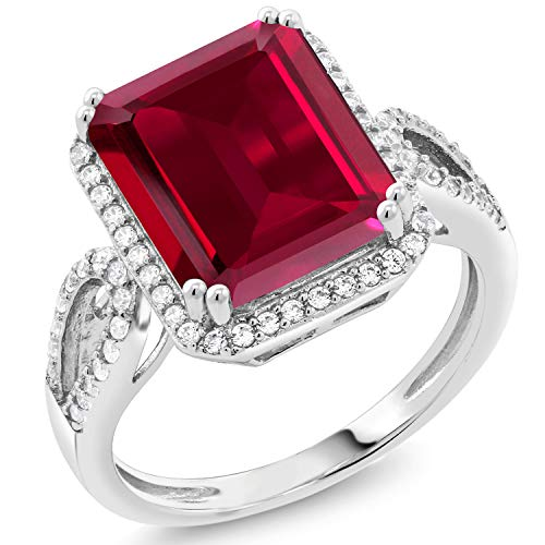 Gem Stone King 925 Sterling Silver Red Created Ruby Women's Ring (5.70 Cttw, Emerald Cut 12X10MM) (Size 7)