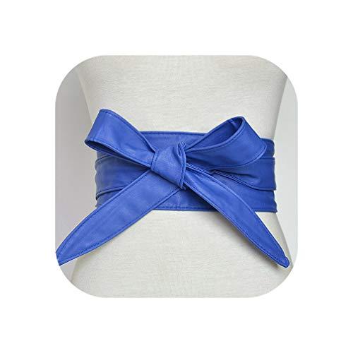 Moda Pu Cuoio Corsetto Cinture Per Le Donne Nero Giallo Rosso Ampia Vita Alta Bowknot Donne Vestito Cintura Cummerbund - Blu - Taglia
