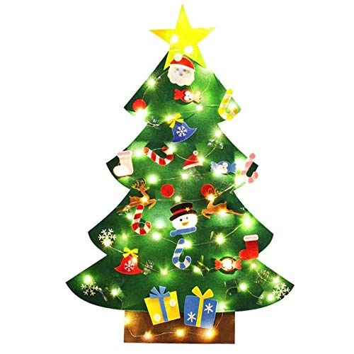 DIY Felt Christmas Tree with 30pcs Ornaments Christmas tree with 26 LED lights, Gifts for , Hanging for Kids Gifts Home Door Wall Decoration