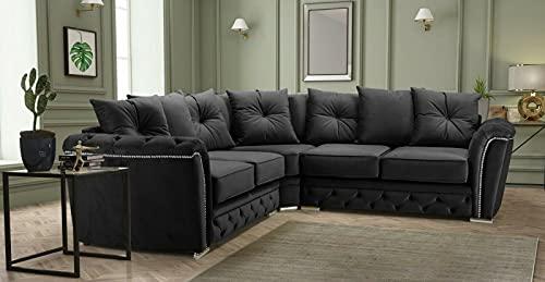 New Chesterfield Black Plush Fabric Corner Sofa for Sale- Corner Sofas for Sale-Cheap Sofas UK-HHI 101