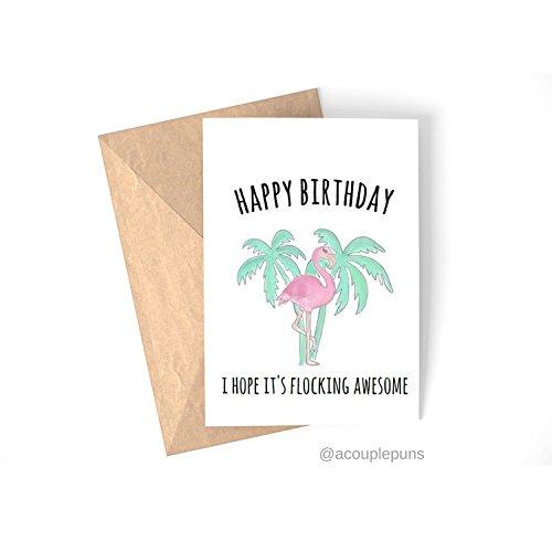 Flocking Awesome Flamingo Birthday Card Tropical Bird Funny