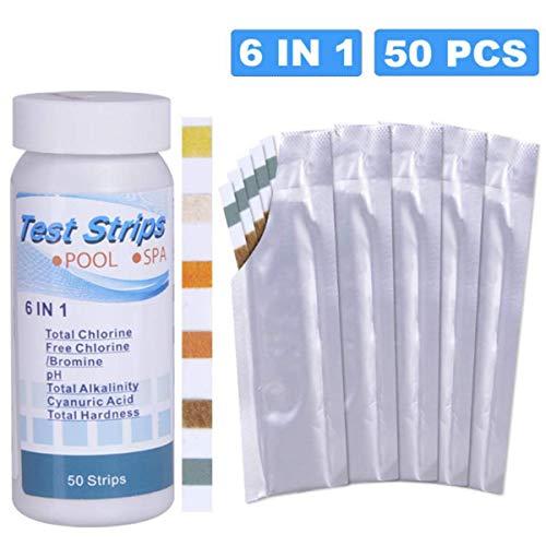 Topsale-ycld Pool Testing Strips, 50 Stks/fles 6-In-1 Zwembad SPA Waterkwaliteit Test Strip Residuele Chlorine Alkaliniteit Hardheid PH Test Papier