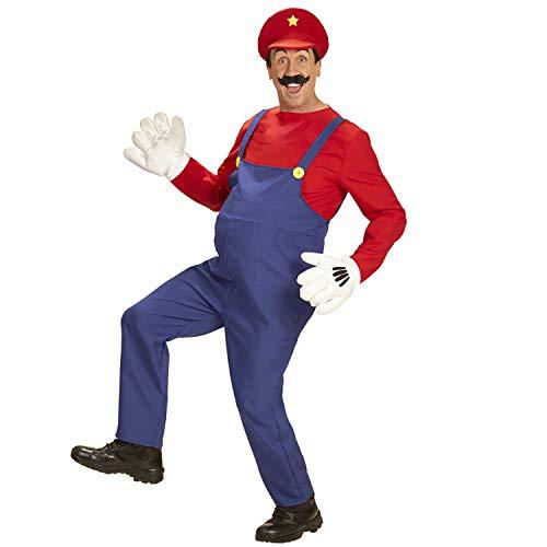 WIDMANN-SUPER KLEMPNER (Overall, Shirt, Hut) 10705  Disfraz de fontanero, mono, camisa, sombrero, artesano, carnaval, fiesta temtica, color rojo/azul, xxx-large