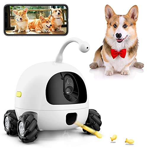 AJK Smart Pet Camera,Dog Treat Dispenser,WiFi Pet Monitor,1080P Night Vision,2 Way Audio and Video Tossing Feeder by iOS App Control Compatible,for Puppy Dogs & Cats (White)