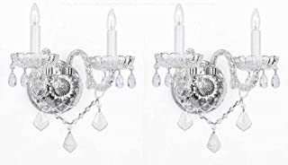 SET OF 2 MURANO VENETIAN STYLE CRYSTAL WALL SCONCES LIGHTING!