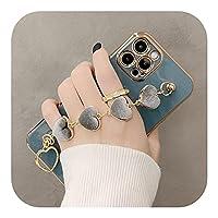 Love HeartFabricブレスレットハンドホルダーカバーfor iPhone 12 11 ProMaxラグジュアリーメッキゴールド電気メッキケース8Plus 7 XR XS X-T3-for iPhone 8 Plus