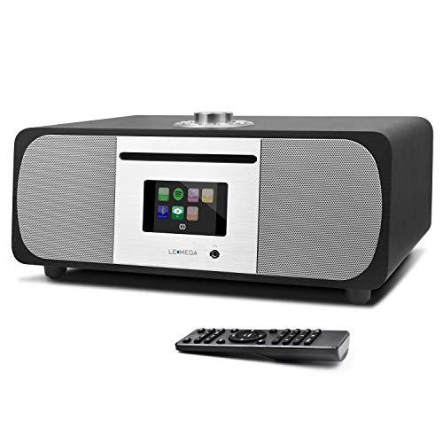 LEMEGA M5P All-In-One HIFI Music System with CD Player, Internet Radio, FM Radio, Spotify, Bluetooth, WIFI, 2.1 Channel Stereo Speaker, Headphone-out, USB MP3, AUX-in, App & Remote Control (Black Oak)