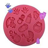 Molde de Silicona 3D de Carrusel Huellas de Bebé Molde para Caramelos 3D Molde de Bebé Decoración de Tartas Decoración de Pasteles Herramientas para Pasteles, Dulces, Chocolate, Galletas y Fondant