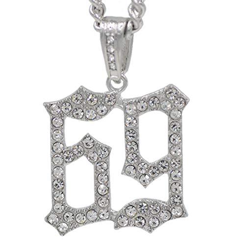 Collar Colgante Joyería Hombres Hip Hop Collares Pendientes Collar De Moda De Diamantes De Imitación Joyería De Hip Hop Regalos-Plata