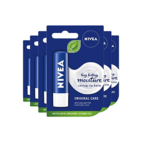 NIVEA Lip Balm Original Care Pack of 6 (6 x 4.8g) Protective Lip Moisturiser with Shea Butter and Natural Oils, Caring Lip Balm for 24h Moisture Care, Lip Care with Melt-In Formula