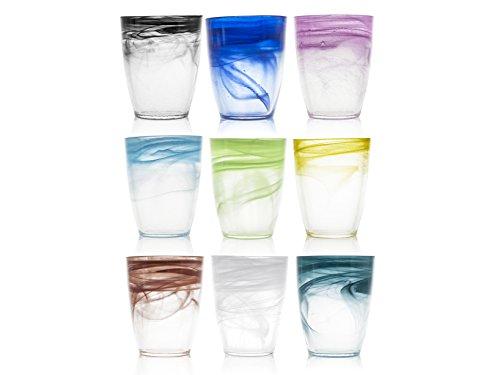 H&H Set 9 Bicchieri Vetro Alabastro Colori Assortiti 35 cl