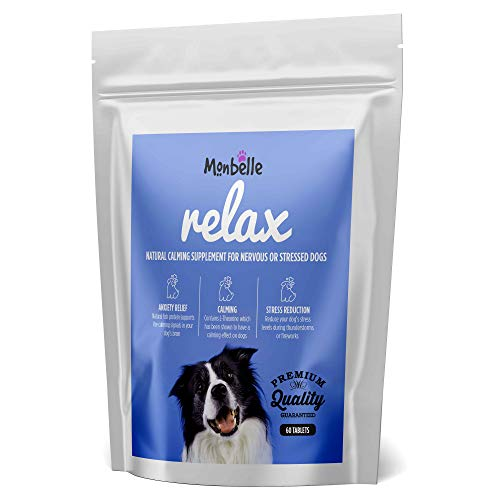 Monbelle Dog Calming Relax Tablet - 60 Tablets Help to Calm Stressed, Fireworks Storms or Nervous Dogs - Canine Behavioural Guide, Anxiety Relief, Peaceful Pup Rescue Remedy Aid - UK Manufactured