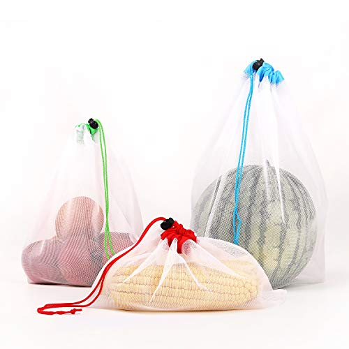 BIGLUFU 21 Pack Reusable Produce Bags Premium Washable Mesh Bags for Grocery Shopping Fruit Vegetable Toys Storage