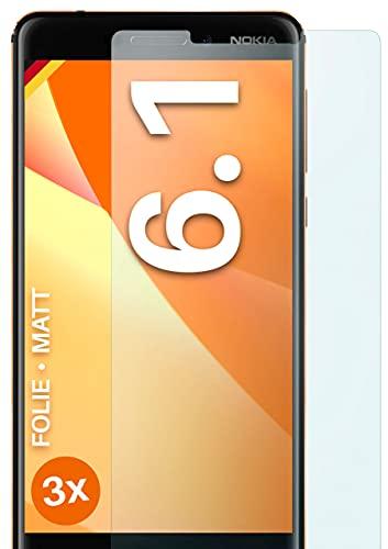 moex Schutzfolie matt kompatibel mit Nokia 6.1 - Folie gegen Reflexionen, Anti Reflex Bildschirmschutz, Matte Bildschirmfolie - 3X Stück