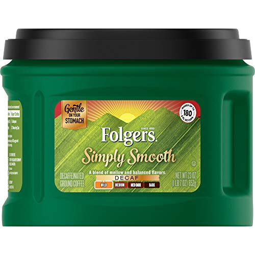 Folgers Simply Smooth Decaf Mild Roast Ground Coffee, 23 Ounces (Pack of 6)