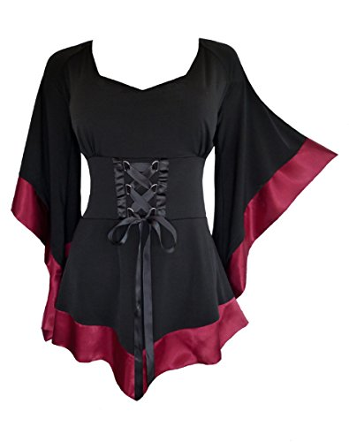 Dare to Wear Treasure Corset Top: Victorian Gothic Medieval Women's Plus Size Courtly Tunic for Everyday Halloween Cosplay Festivals, Burgundy 3X