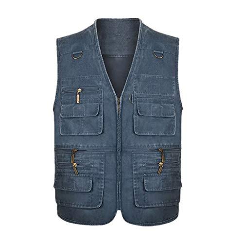 Multi Pockets Vest, Vissen Fotografie Taillejas Denim Mouwloos Jas mannen Outdoor Gilet