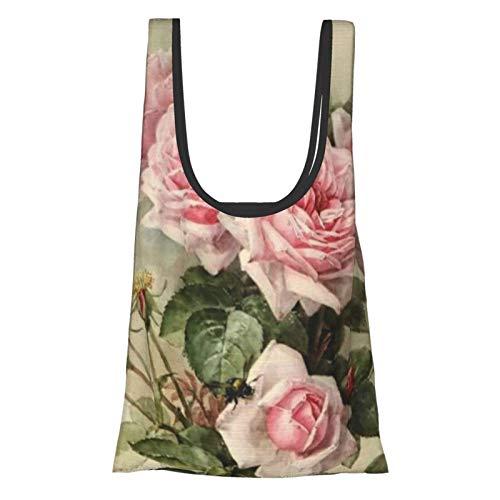 Bolsa de la compra con diseño de rosas victorianas de estilo shabby chic, cómoda, moderna, reutilizable, respetuosa con el medio ambiente.