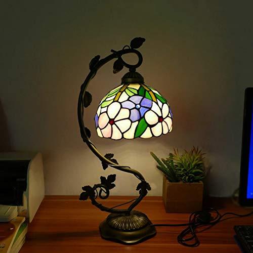 Tiffany Desk Lamps Mesa de cristal Mesa de vidrieras Lectura Banquero Luz Cristal Bead Azul Amarillo Shadefor Sala de estar Dormitorio Mesa de centro,C