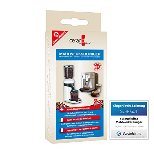 ceragol ultra Mahlwerks-Reiniger – Reinigungs-Granulat für Kaffee-Vollautomaten und Mühlen aller Art, effektiver Kaffee-Reiniger, 2 Stück für 2 Anwendungen
