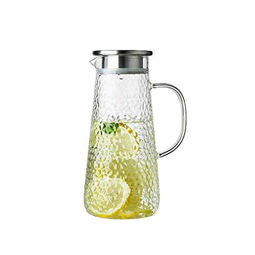 ZXL grote capaciteit karaf met handvat en roestvrijstalen deksel hoge hittebestendigheid Pitcher voor sap melk glazen fles voor bloemthee (Maat: 1600ML)