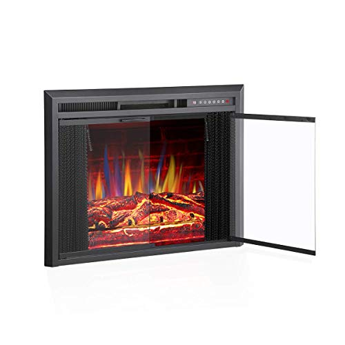 "R.W.FLAME 36"" Electric Fireplace Insert, Traditional Antiqued Build in Recessed Electric Stove Heater, Glass Door and Mesh Screen,Touch Screen,Remote Control with Timer, Colorful Flame Option"