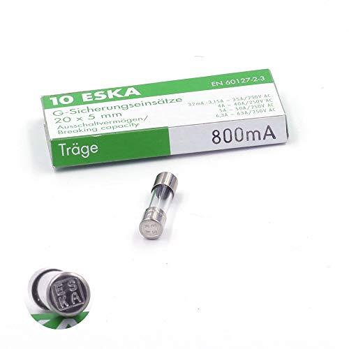 Schmelzsicherung, träge (T), aus Glas, 800°A/250°VAC, 5°x°20°mm, 10 Stück