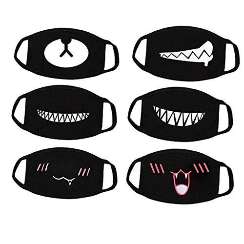Haishell, Mundmaske, Unisex, Cartoon-Design, Zahn-Design, dreilagig, Baumwolle, Halbmaske, Anti-Staub-Maske, Schwarz, 6 Stück 6 Stück