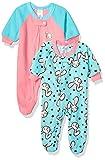 GERBER Baby Girls 2-Pack Blanket Sleeper, Blue/Pink Rabbit, 12 Months