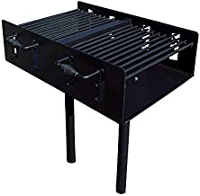 EasyChef Heavy Duty Outdoor Group Camp Park Style Charcoal & Wood Grill with In-Ground Post