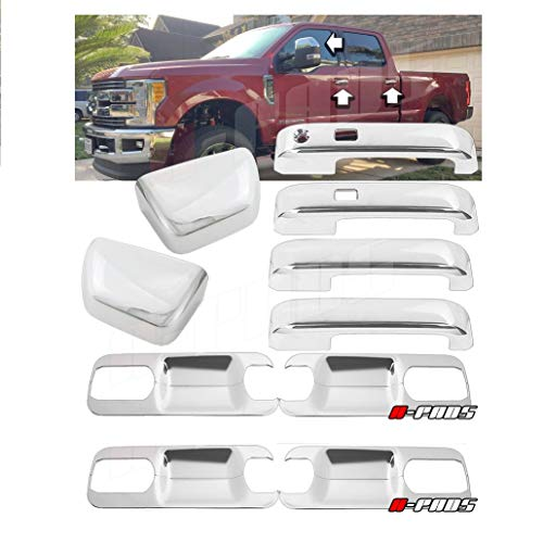 A-PADS Chrome Cover for 2017-2018 Ford F250 F350 F450 Top Half Mirror + 4 Door...