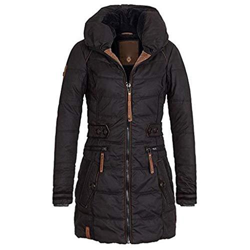 FRAUIT Rollkragen Jacke Damen Warme Winterjacke Verdicken Parka Baumwolle Lange Jacke Outwear Gefüttert Mantel mit Kapuze