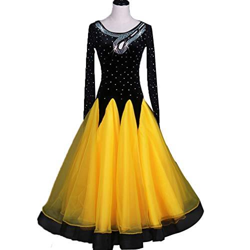 Frauen Standard Ballroom Tanz-Wettbewerb Kleider Perspektive Langärmlig Strass Tanzen Kostüme Tango Walzer Kleider Modernes Tanzkleid, XL