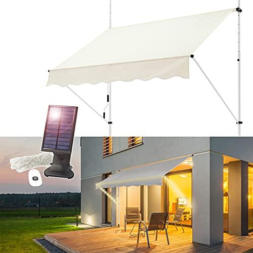 ML-Desing Toldo Retráctil Manualmente 250 x 120 cm con Cadena de Luz LED Solar 7m Beige Lona Regulable en Altura Sombrilla de Metal y Poliéster Resistente a la Interperie Marquesina Protectora