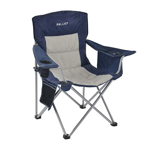 PELLIOT Portable Camping Chair Heavy Duty Lumbar Back Supports 300 lbs, Padded Hard Arm Folding Camp Beach Chair with Cup Holder