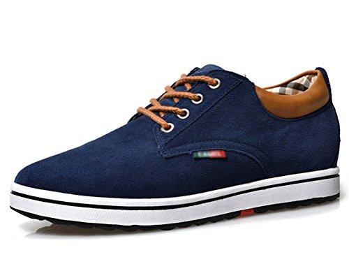 ailishabroy Männer echtes Veloursleder Leder Aufzug Schuh Männer Höhe Erhöhung Schnürung Casual Schuhe (41 EU, blau)