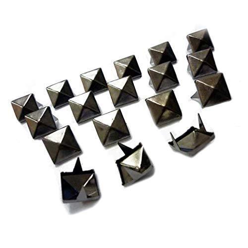 WedDecor 9mm Pyramidennieten Quadrat Stachel Punk Kopf für Lederwaren, DIY Projects, Taschen, Gürtel, Schuhe, Dekor Kleidung, Jeans, Bronze, 100 Stück - Aus Rotguss, 6mm