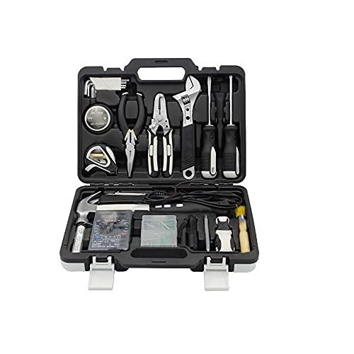 Kit de herramientas 61 piezas con caja de herramientas llave inglesa destornillador martillo Bricolaje para el hogar Reparar Mantenimiento Fijaciones Juego de herramientas universal