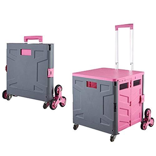 JQXB Einkaufstrolley Einkaufswagen 65 L klappbar bis 35kg, Einkaufstransportwagen Klappbox Faltbox mit Rollen,Verstellbarer Griff,Rosa,45L