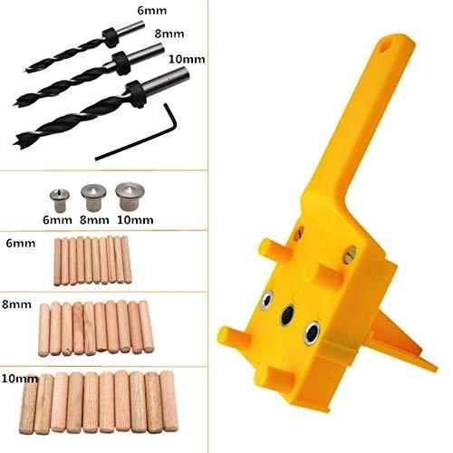 WFBD-CN Holzschnitzwerkzeuge 41pcs / Handheld zum Holzdübel Werkzeugführungssatz for 6/8 / 10mm Bohrer Bohren Holz gerade Loch-Dübel Mit Metallhülse Drehwerkzeugsatz