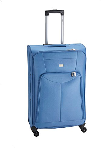 Pure Koffer Basic - 59 x 38 x 18 cm - Trolley Mit 4 Rollen & Vortasche - Weichschalen-Reisekoffer Mit 33 Litern Volumen - Blau