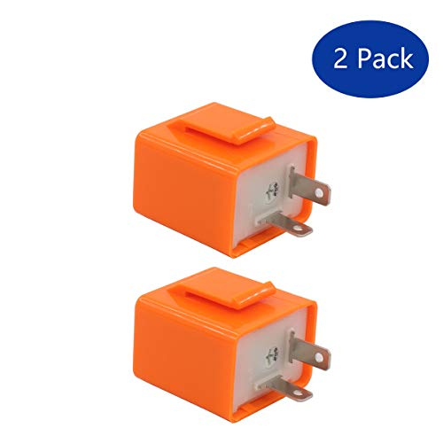XtremeAmazing 2 Pack 12V 2 Pin Motorcycle Indicator Light LED Electronic Fixed Turn Signal Flasher Relay